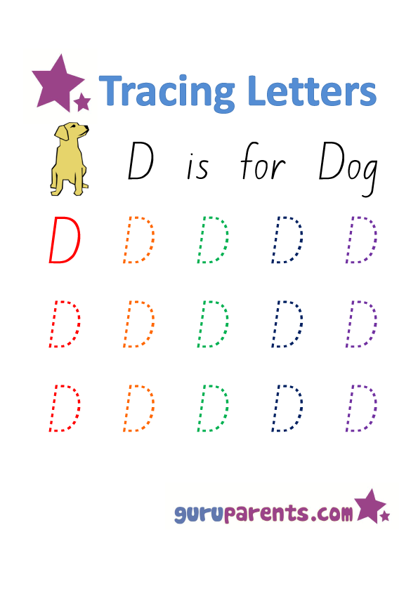 Alphabet Worksheet - Handwriting Uppercase Letter D