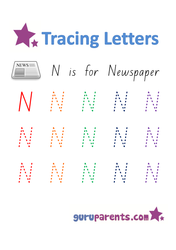 Alphabet Worksheet - Handwriting Uppercase Letter N