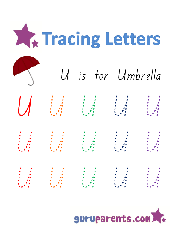 Alphabet Worksheet - Handwriting Capital Letter U