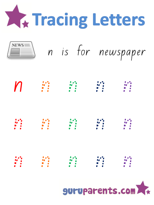 Alphabet Worksheet - Handwriting Lowercase Letter N
