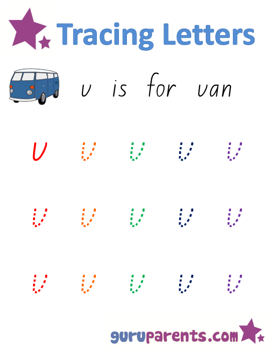 Alphabet Worksheet - Handwriting Lower-Case Letter v