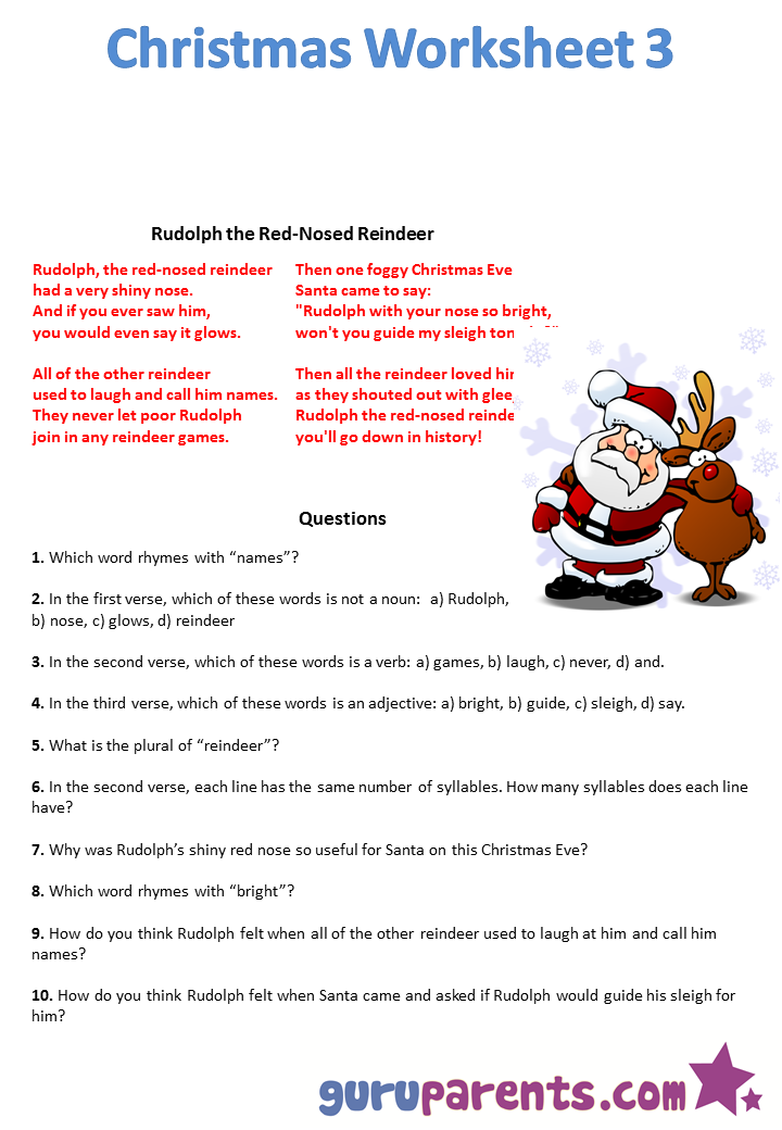 Worksheets Christmas Worksheets christmas worksheets guruparents worksheet 1 2 3