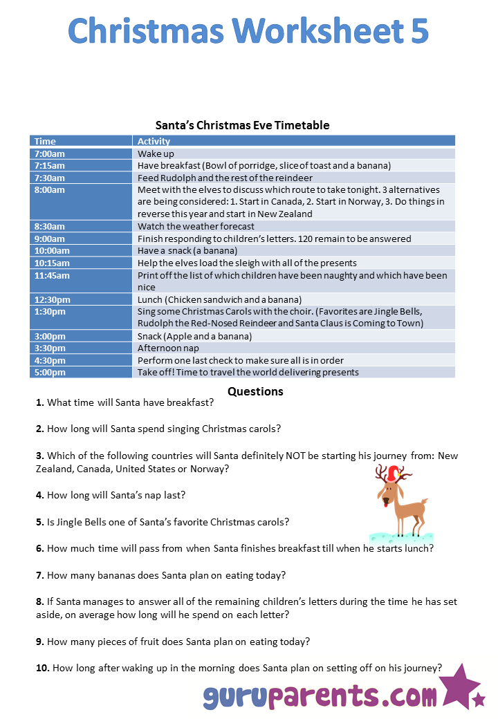 Christmas Worksheets | guruparents