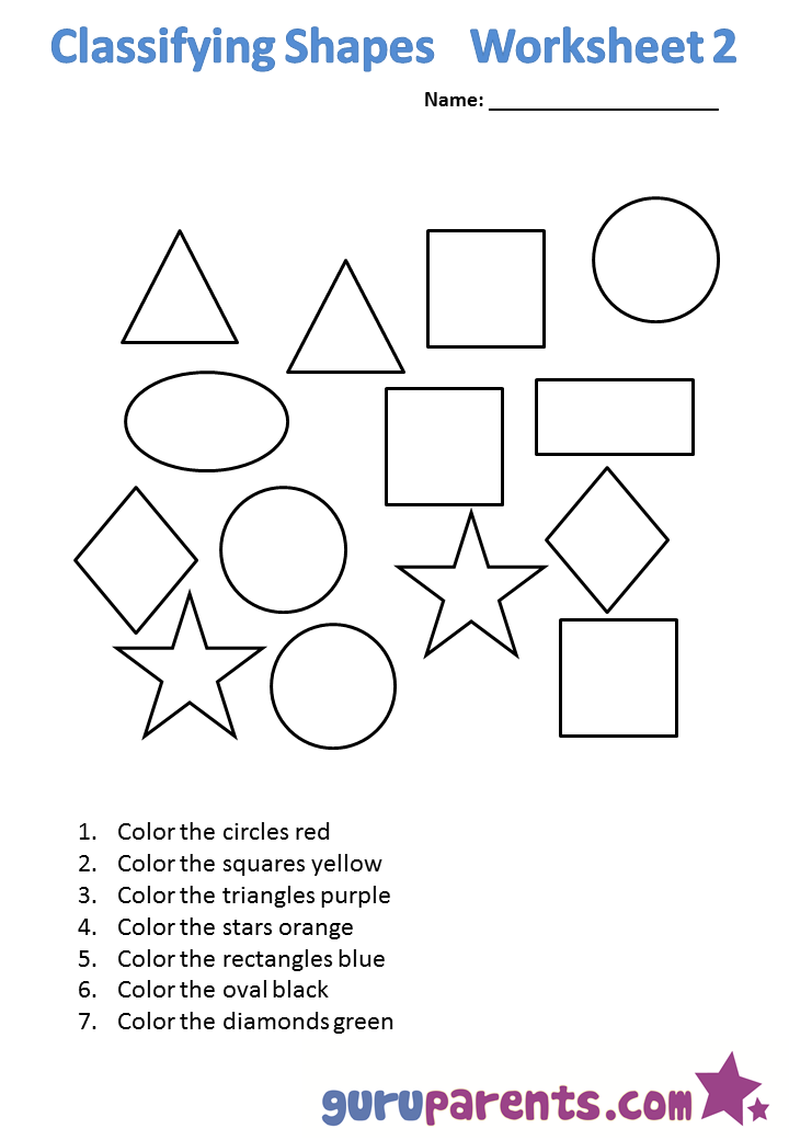 Kindergarten Math Worksheets – Worksheet on Shapes for Kindergarten