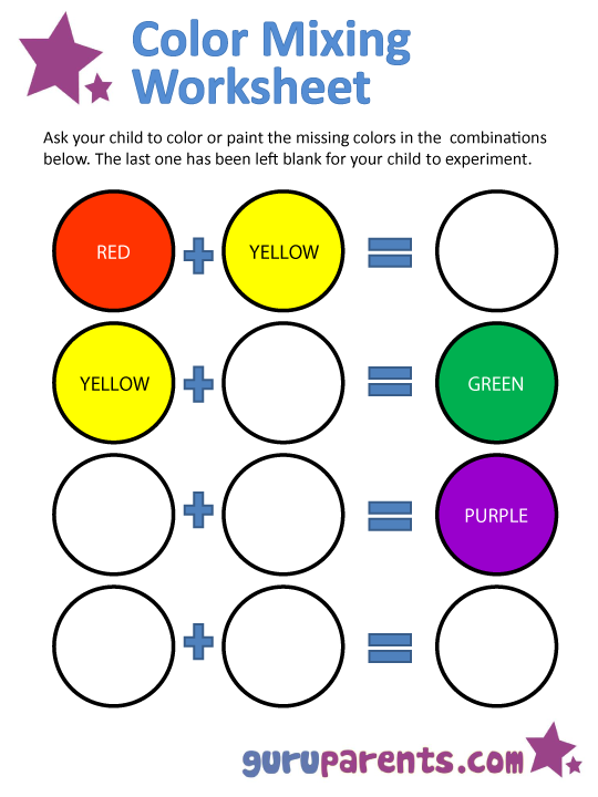Worksheets Primary Colors Worksheet mixing colors guruparents color worksheet 2