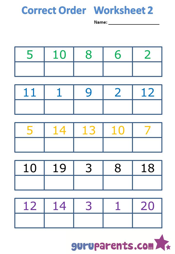 Correct order worksheet 2