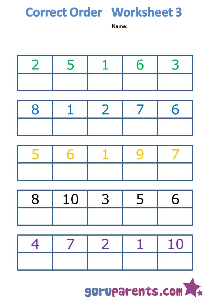 Correct order worksheet 3