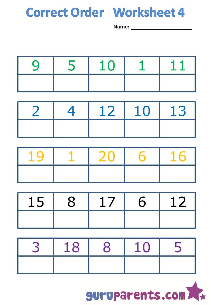 Correct order worksheet 4