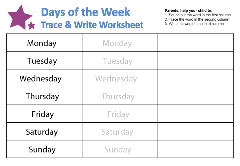 Number Names Worksheets days of the week exercises : Days of the Week Worksheets | guruparents