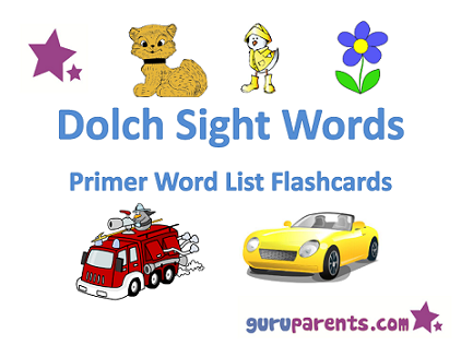 dolch sight words pre primer flashcards