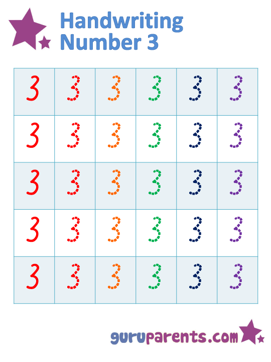 Number Worksheet - Handwriting Number 3