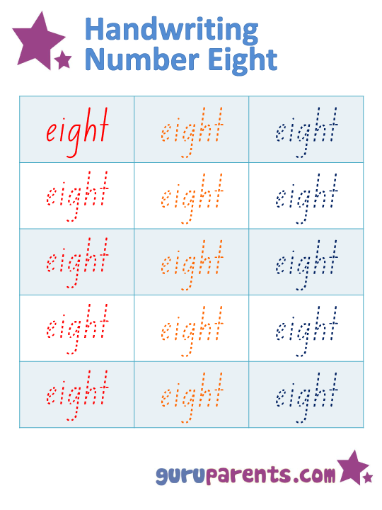 Handwriting Number Eight Worksheet