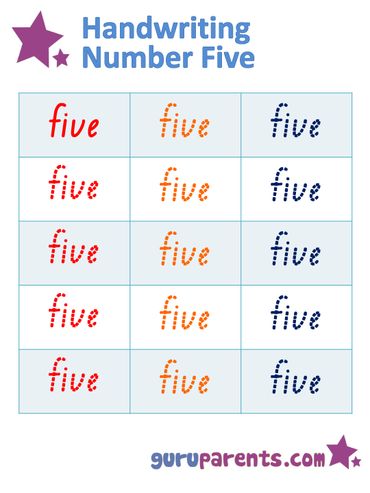 Handwriting Number Five Worksheet