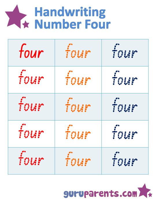 Handwriting Number Four Worksheet