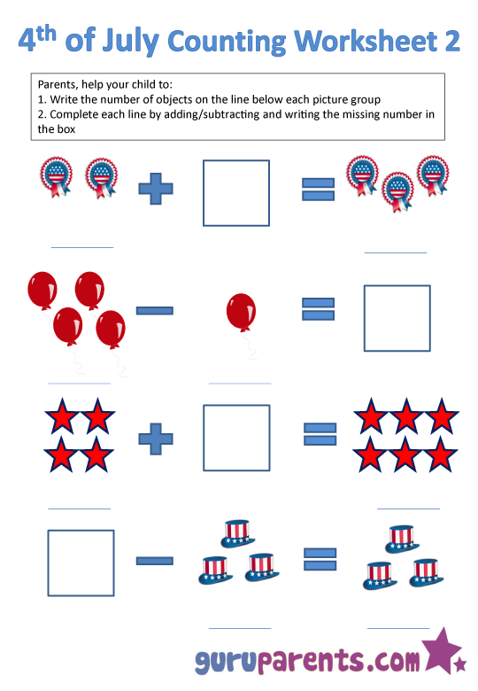 4th of July counting worksheet 2