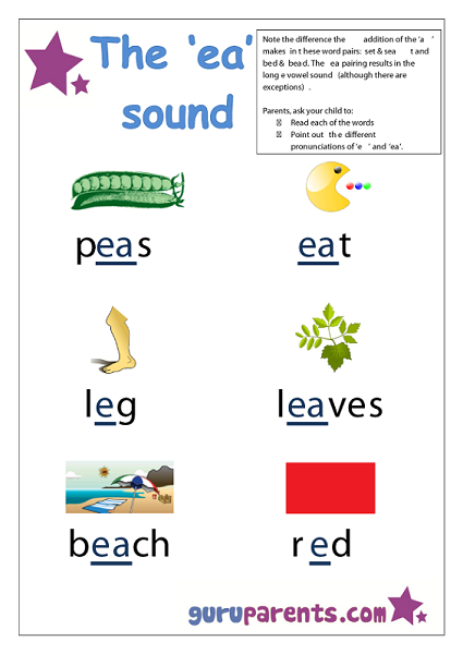 Letter E Worksheet - ea sound