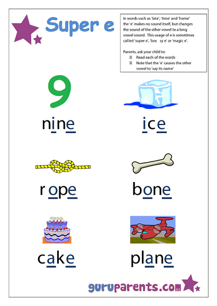 Preschool Letter Worksheet - Super e sound