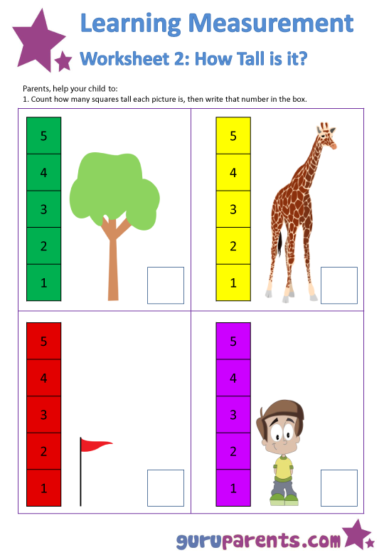 Click here for all 3 printable Learning Measurement Worksheets >>