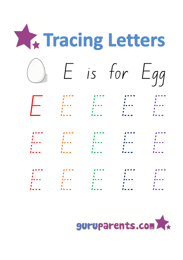 Letter E Worksheets | guruparents