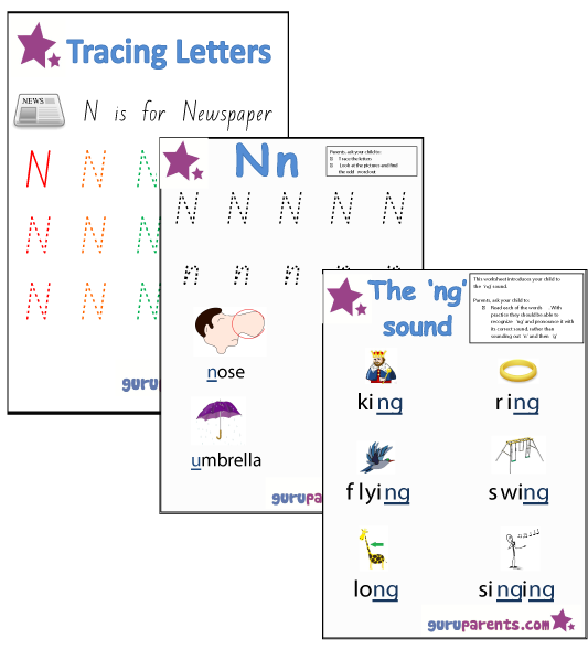 Letter N Worksheets