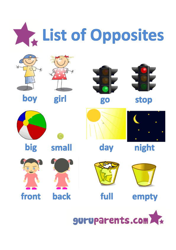 Opposites Worksheets Guruparents
