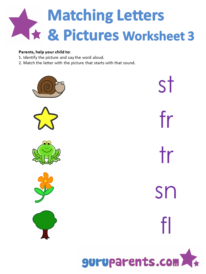 Matching letters and pictures Worksheet 3