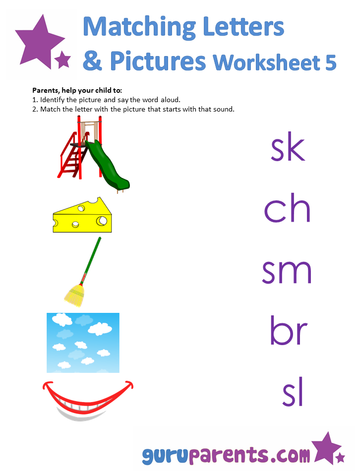 Matching letters and pictures Worksheet 1
