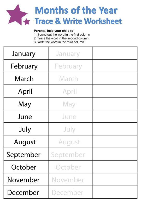 {Months of the Year Worksheets – Months of the Year Worksheets for Kindergarten