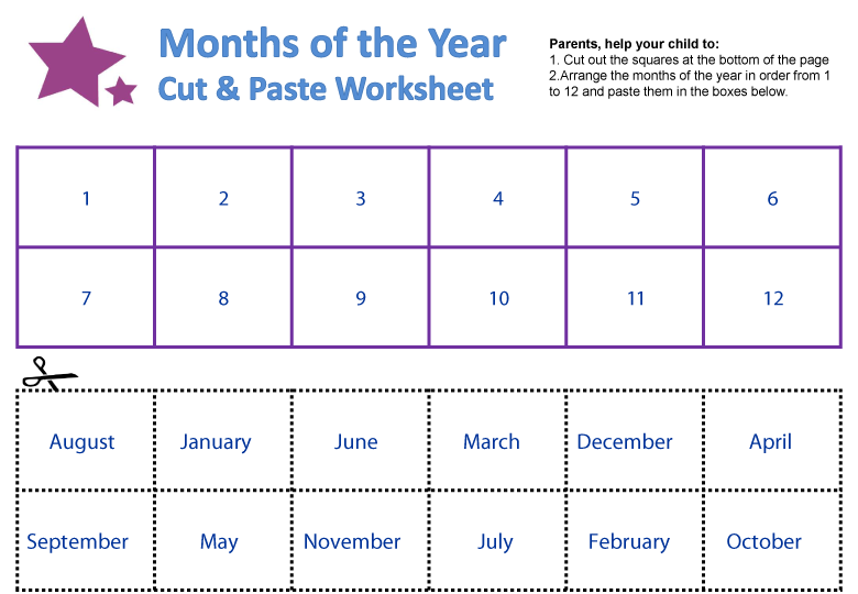 Number Names Worksheets worksheet for months of the year : Months of the Year Worksheets | guruparents