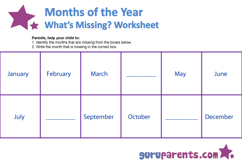 Months of the Year Worksheets : guruparents