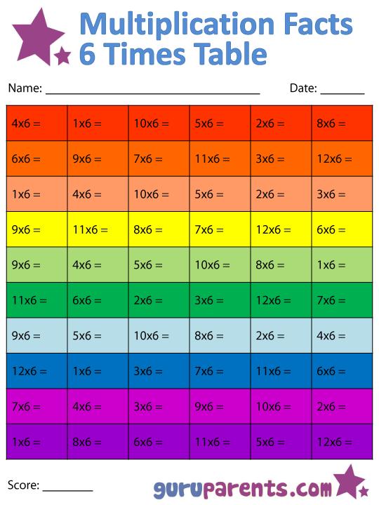 Number Names Worksheets 6 7 times tables : Multiplication Facts Worksheets | guruparents