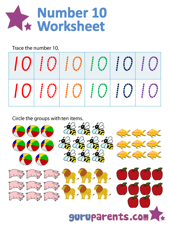 math worksheet : kindergarten math worksheets  guruparents : Number 10 Worksheets For Kindergarten
