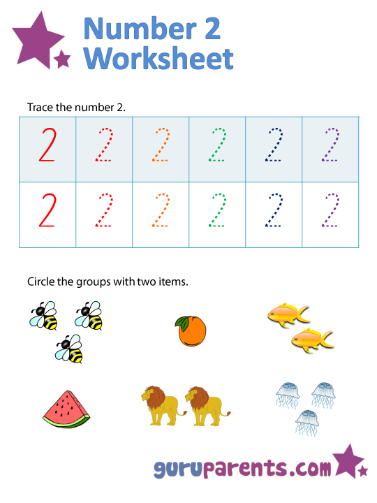 Number 2 Worksheets Guruparents
