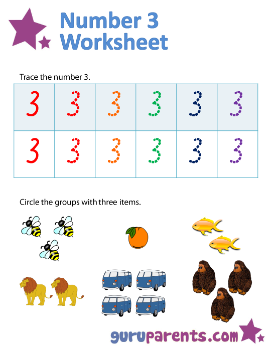 Worksheets Number 3 Worksheets For Preschool number 3 worksheets guruparents worksheet