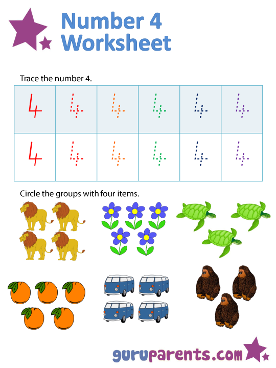 Number 4 worksheets – Number 4 Worksheets