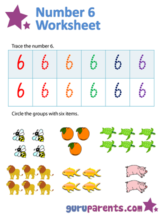 Number 6 worksheets | guruparents