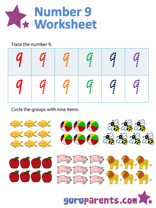 Number 9 worksheets – Number 9 Worksheet