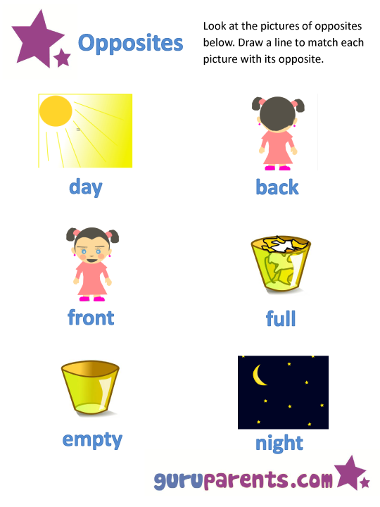 Opposites Worksheets – Opposites Kindergarten Worksheets