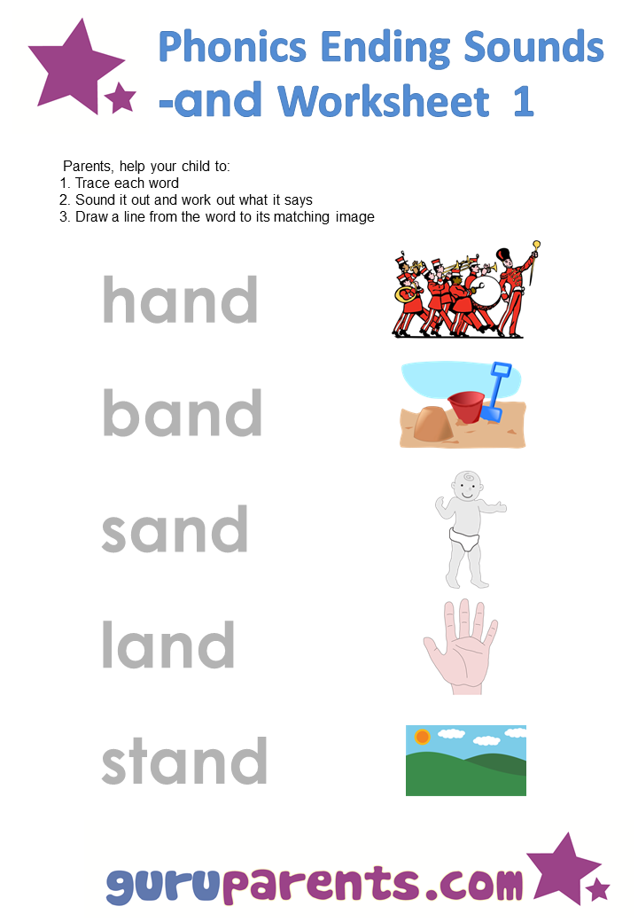 Phonics Ending Sounds Worksheets -and