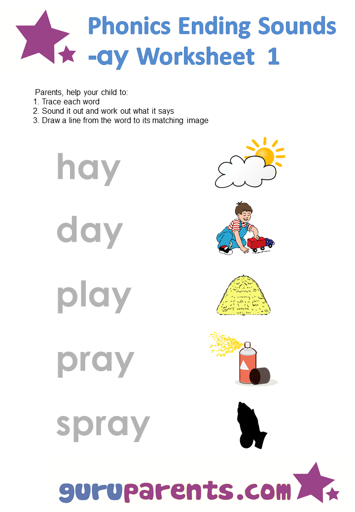 Phonics Ending Sounds Worksheets -ay