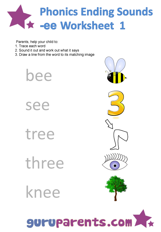 Phonics Ending Sounds Worksheets -ee