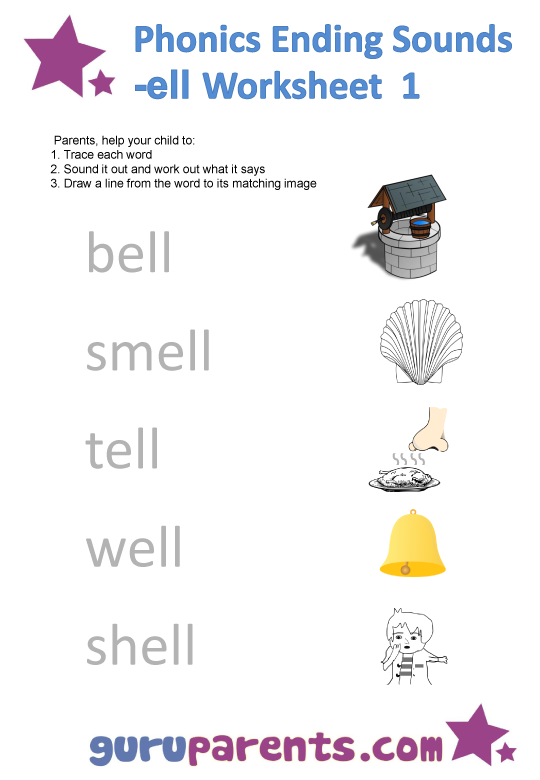 Phonics Ending Sounds Worksheets -ell