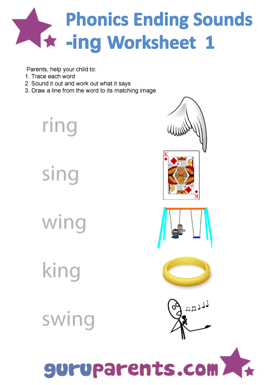 Phonics Ending Sounds Worksheets -ing