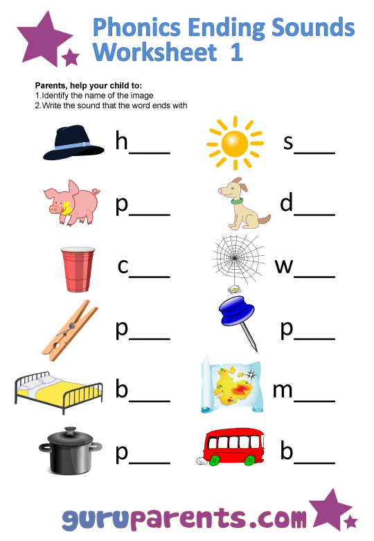 math worksheet : phonics worksheets  guruparents : Printable Phonics Worksheets For Kindergarten