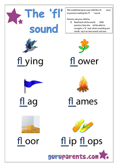 Word Beginning Sounds Worksheet - fl sound
