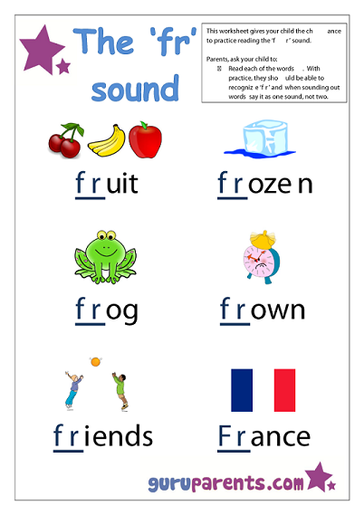 Word Beginning Sounds Worksheet - fr sound