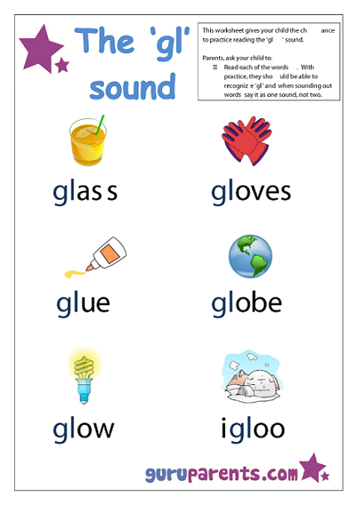 Word Beginning Sounds Worksheet - gl sound