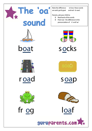 Preschool Letter Worksheet - oa sound