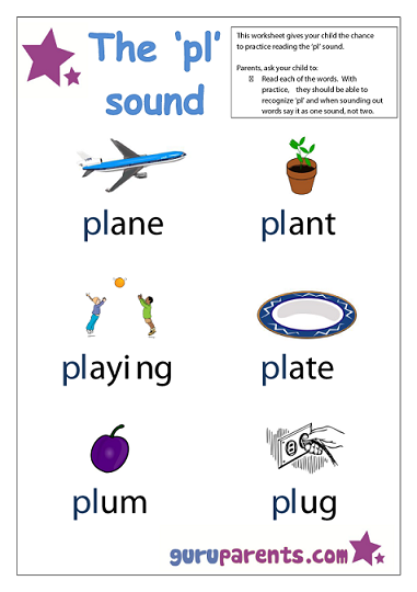 Word Beginning Sounds Worksheet - pl sound