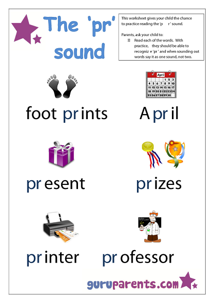 Word Beginning Sounds Worksheet - pr sound